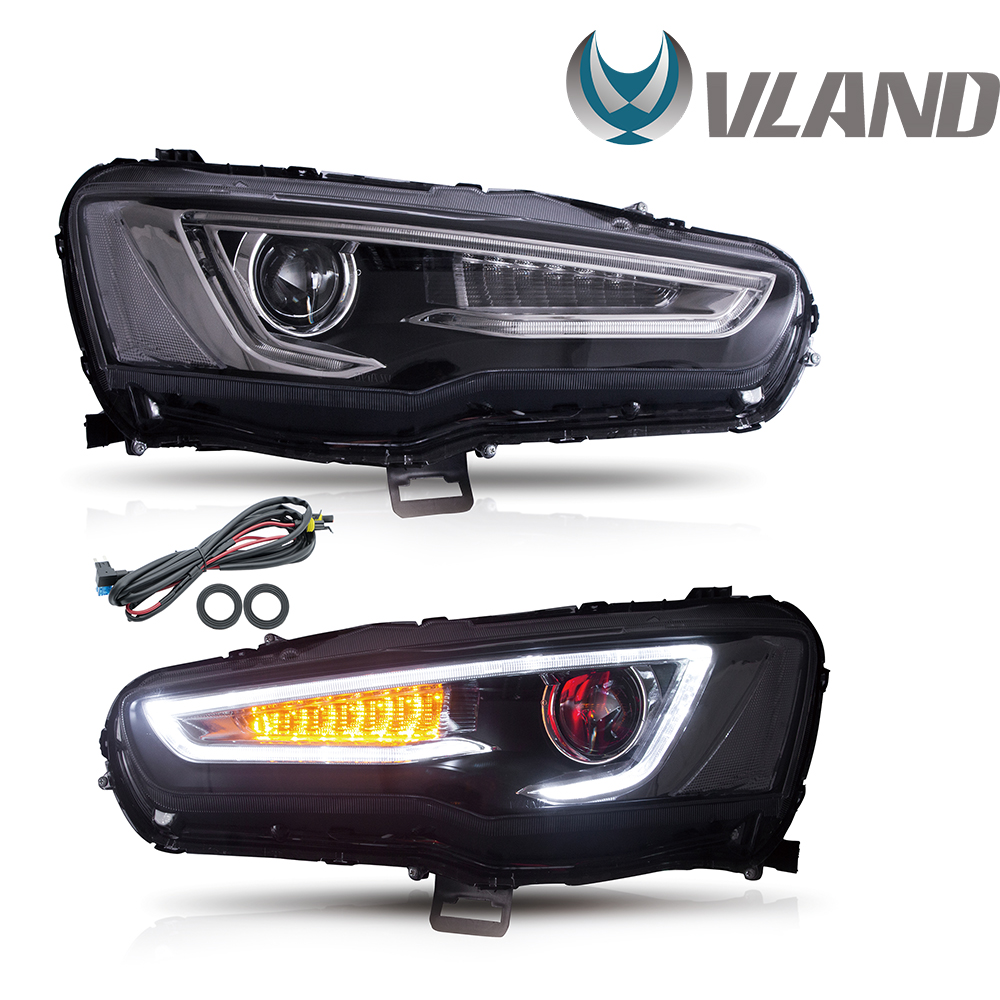 VLAND Headlamp Car Headlights Assembly For 2008-2018 Mitsubishi Lancer EVO X Red Demon Eye Head Light Moving Turn Signal Light