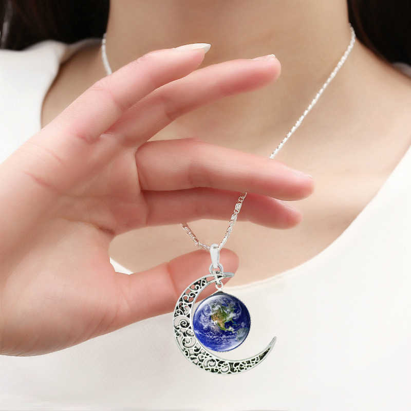 2019 Moon Women Pendant Necklace Universe Planet Necklace Blue Earth Glass Pendant Galaxy Necklace  Silver Chain Women Jewelry