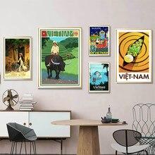 Vietnã mercado de água hoi um amarelo cidade viagens quadros em tela da parede do vintage kraft posters revestido adesivos de parede decoração casa presente