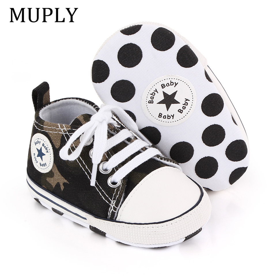 Baby Canvas Classic Sneakers Newborn Print Star Sports Baby Boys Girls First Walkers Shoes Infant Toddler Anti-slip Baby Shoes 2