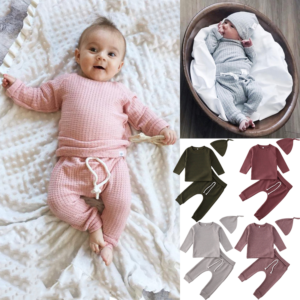 0-24M Newborn Infant Baby Boy Girl Clothes Set Soft Long Sleeve T Shirt + Pant Outfits Casual Baby Costumes