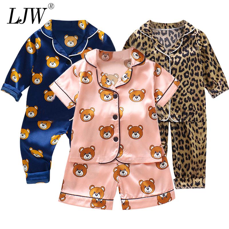 LJW Children's pajamas set Baby suit Kids Clothes Toddler Boys Girls Ice silk satin Cartoon printing Tops Pants Set home Wear