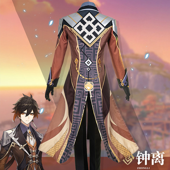 Anime! Genshin Impact Zhongli Cosplay Costume Game Suit Men Fancy Uniforms Halloween Carnival Party Outfits Custom Made 6