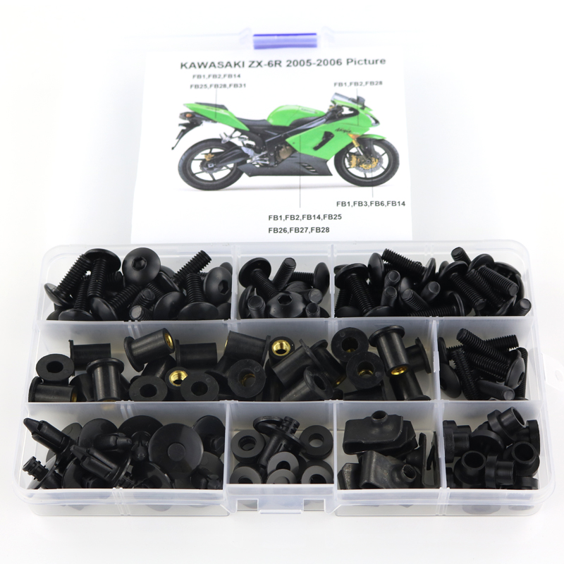 For Kawasaki ZX6R ZX-6R ZX 6R 2005 2006 Complete Full Fairing Bolts Kit Fairing Clips Nut Motorcycle Fairing Kit Steel