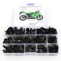 Para kawasaki zx6r ZX 6R zx 6r 2005 2006 completa carenagem parafusos kit clipes porca carenagem da motocicleta kit de aço|Kits de carenagem completa| |  -