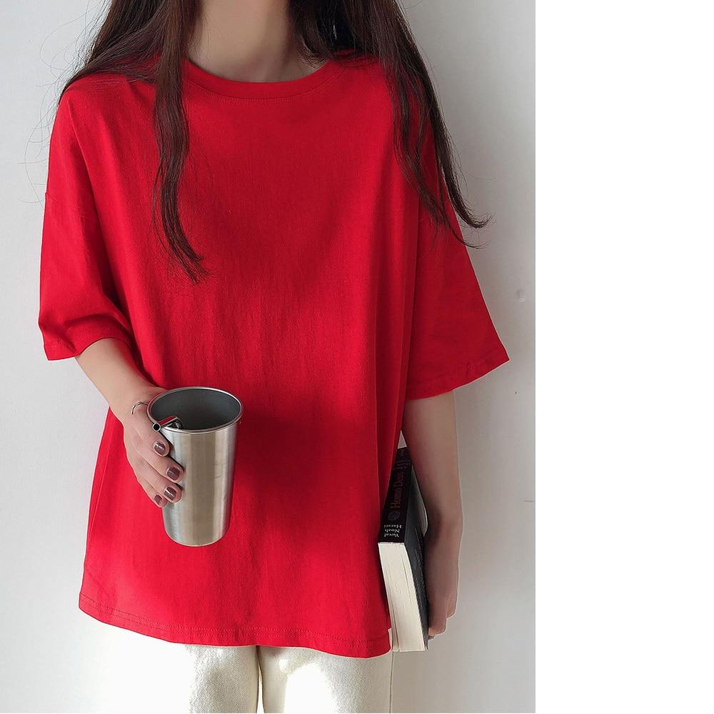 H77aa30a58d0641b298bb950c67d07d0eb - Summer O-Neck Short Sleeves Minimalist Loose Basic T-Shirt