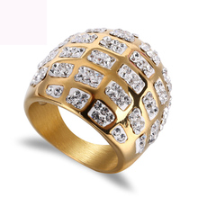 Gold color plated argil finger ring high quality jewelry titanium steel casting crystal rings for women