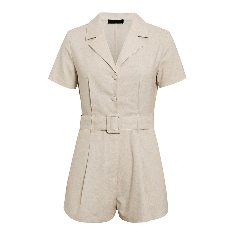 Elegant Button Belt Tie Linen Short Jumpsuit Romper 5