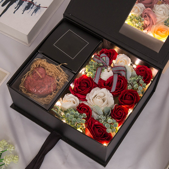 LED Artificial Soap Scented Flowers Rose Gift Box Bouquet Simulation Rose Valentines Day Birthday Gift Decor Anniversary недорого