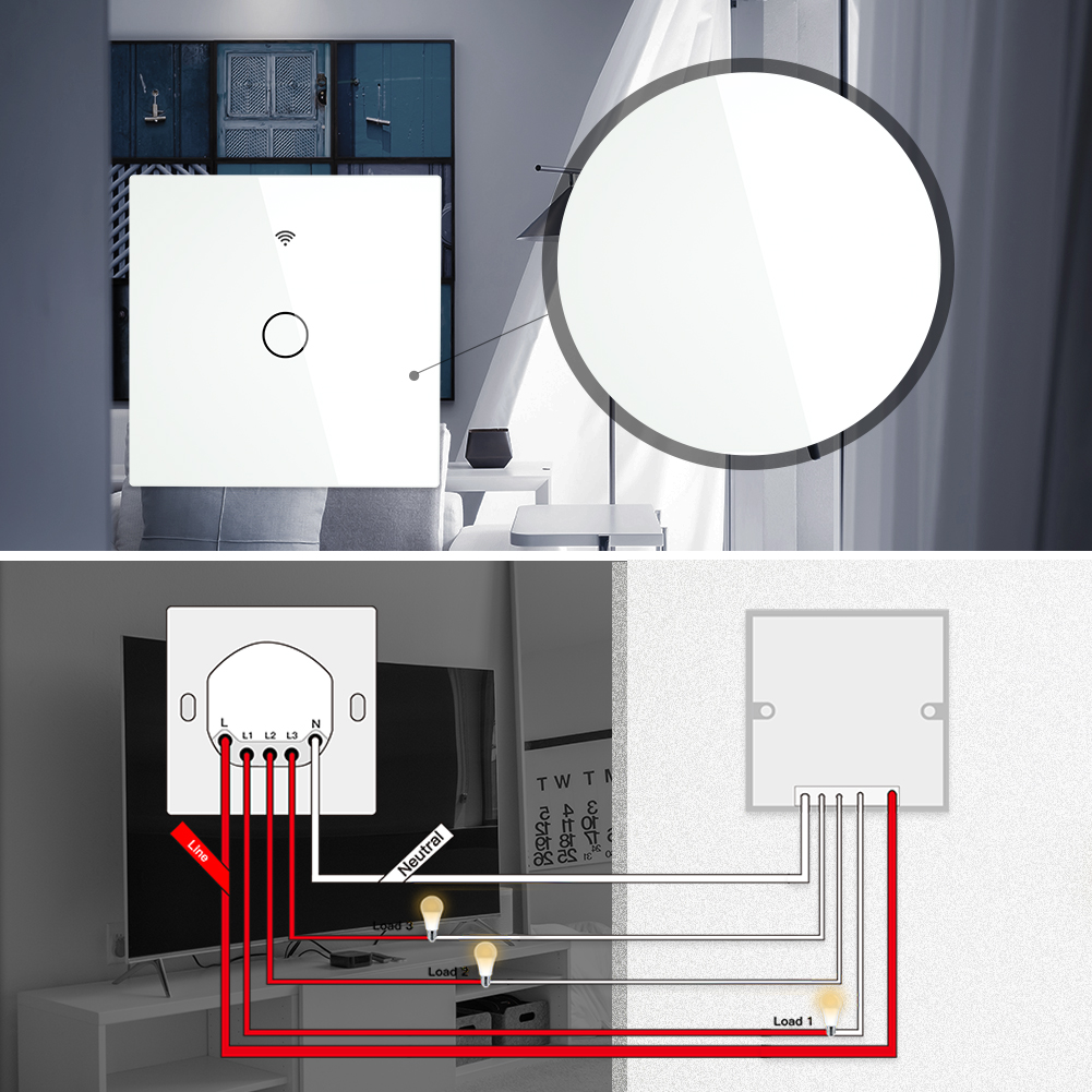 Image 5 - WiFi Smart Switch RF433 Remote Control Glass Panel Light Switch Smart Life Tuya Works With Alexa Echo Google Home 1/2/3 Gang-in Switches from Lights & Lighting