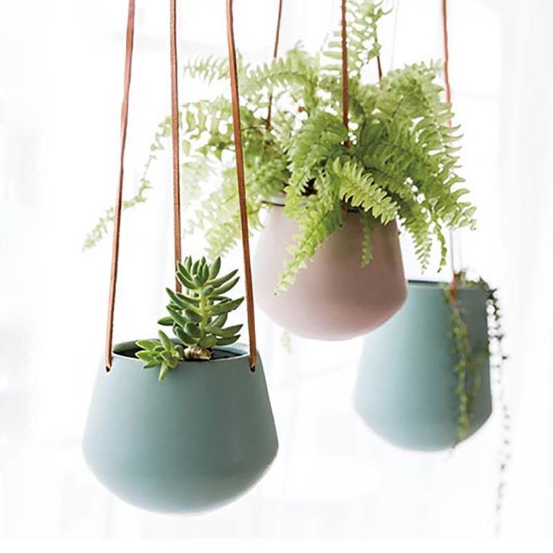 Creative Balcony Hanging Flower Pot Nordic Home Living Room Wall Planter Ceramic Wall Vase Succulent Plant Pots Hanging Basket