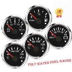 Point Alarm Car Gauge Vehicle Meter 12V Automobile 52mm Water Temp Oil Press Fuel Pressure Volt Indicator For Motorcycle Boat