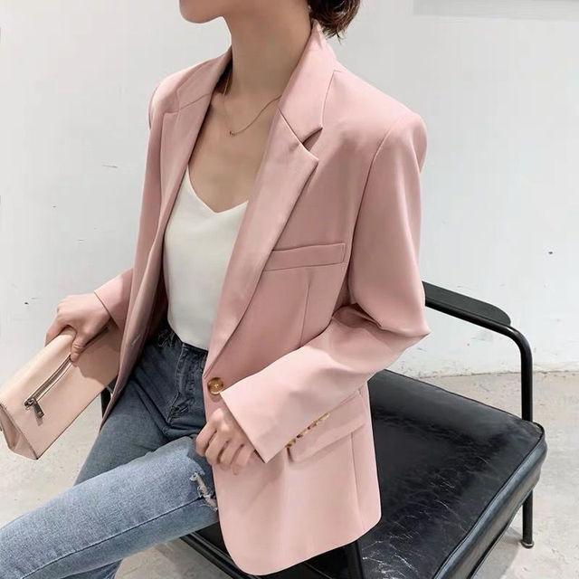 Pink Blazer Women's Korean Version British Fashion Chic Streetwear Office Ladies Elegant Casual Loose Long Sleeve Jacket 2