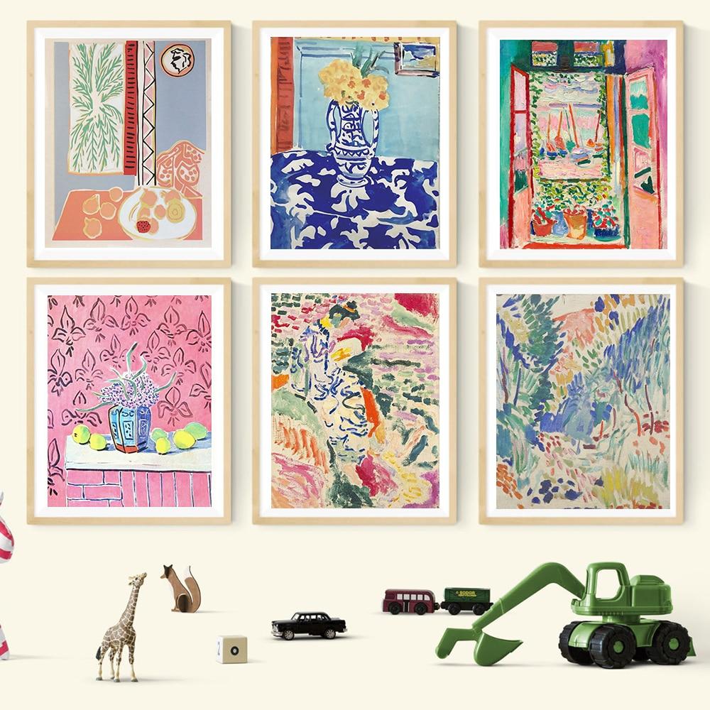 Henri Matisse Retro posterler ve baskılar soyut manzara duvar sanat Vintage tuval boyama resimleri için oturma odası ev dekor