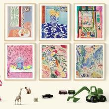 Henri matisse retro posters e cópias abstracto paisagem arte da parede quadros da lona do vintage para sala de estar decoração casa