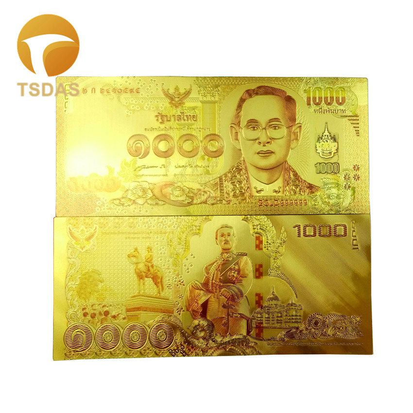 10PCS Thailand 500 Baht Colored Gold Banknote Plated World Paper Money Bill Note