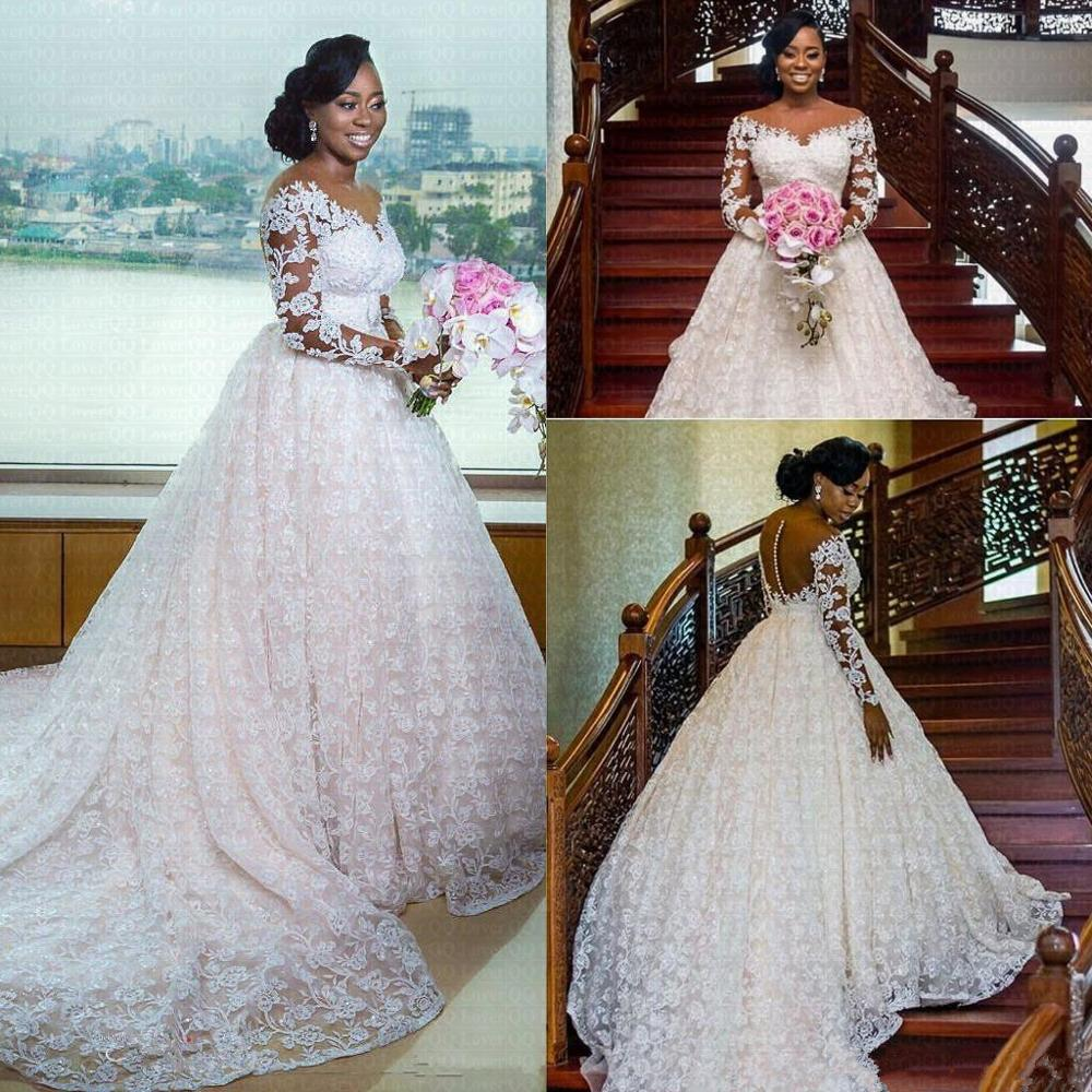 New African Luxury Wedding Dress 2020 Scoop Neck Full Lace Pearls Beaded Long Sleeves Chapel Train Wedding Gowns