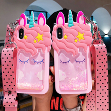 3D Cartoon Pink Quicksand Unicorn Liquid Stars Phone Case For iphone 8 Case 7 6 plus XR XS MAX Bling Shoulder Strap Soft Cover