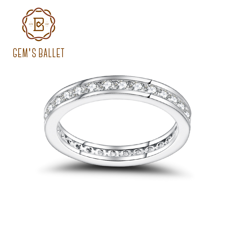 GEM'S BALLET Luxe Antique Scroll Moissanite Ring 925 Sterling Silver Wedding Band For Women Fine Jewelry (0.99Ct 2mm EF Color)
