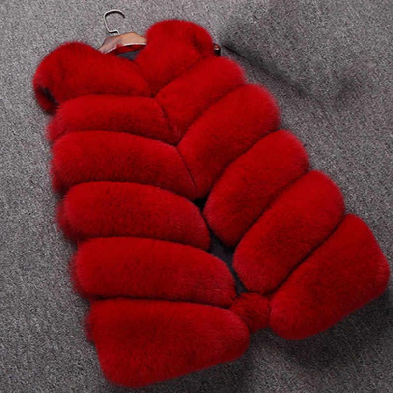 Padat Tanpa Lengan Bulu Imitasi Wanita Menebal Rompi Mantel Plus Ukuran 3XL Hangat Musim Dingin untuk Wanita Atasan O-neck Elegan Fashion wanita Mantel