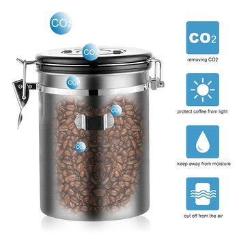 Stainless Steel Airtight Sealed Canister With Spoon Coffee Flour Sugar Container Holder Can Storage Bottles Jars For Coffee Bean 3