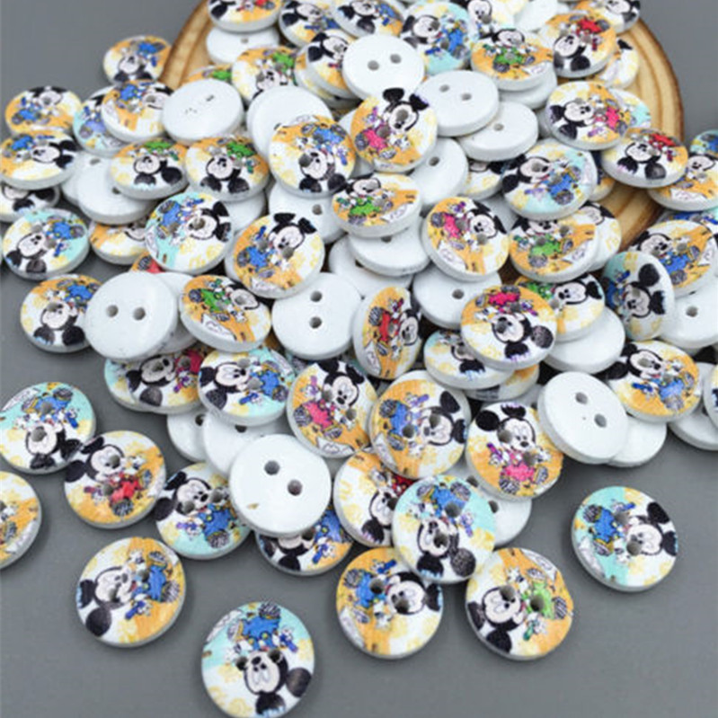 Strong-Willed Diy 200pcs Mini Mickey Wooden Buttons Fit Sewing Scrapbook Embellishment 11.5mm