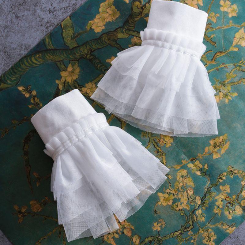 2pcs/pair Women Girl Fake Flare Cuff Lace Sweater Blouse Arm Warmers Wrist Decor 449B
