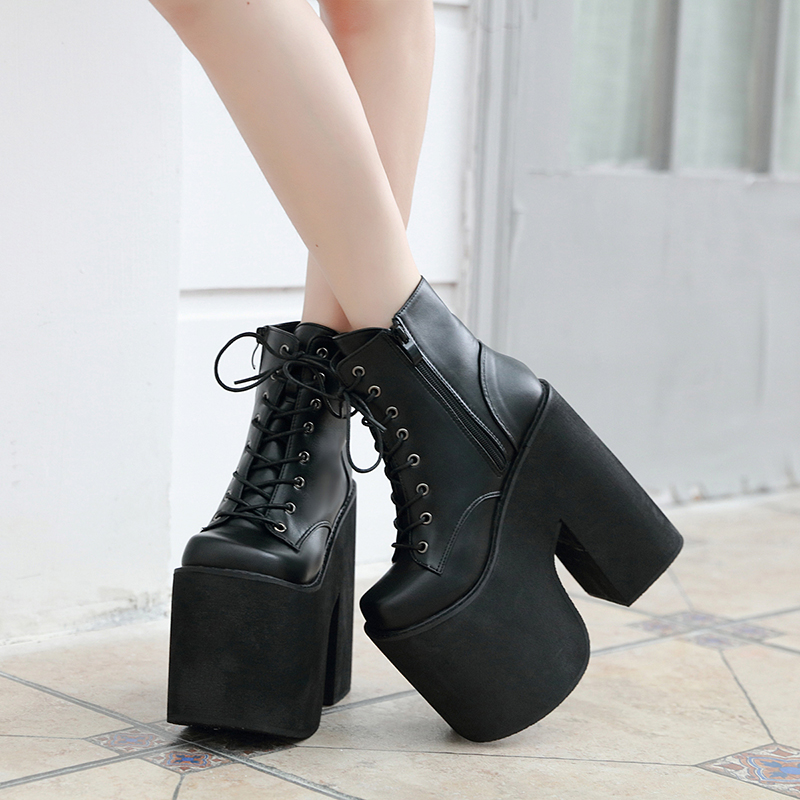 17cm Heel Motorcycle Boots Black Ankle Boots For Women Punk Cosplay Boots Fashion Goth Platform Boots Autumn Women High Heels