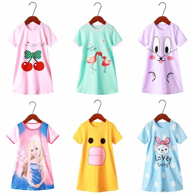 Dress Girls Nightdress Clothes Summer Cartoon Nightgown Children Clothing Short Sleeved Pajamas Dress Kids Homewear 1