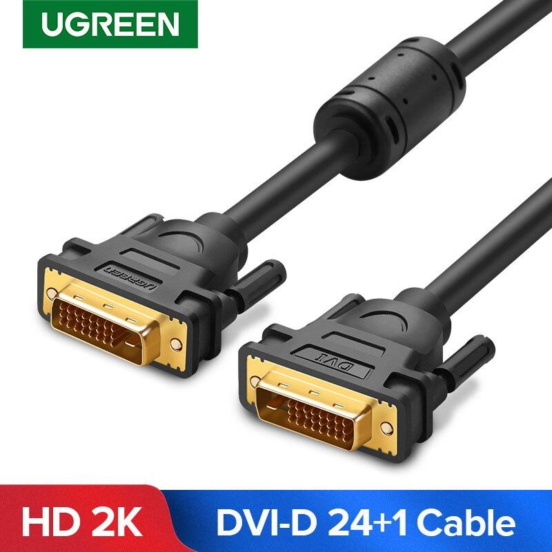 Ugreen dvi cabo DVI-D macho para macho cabo de vídeo 2 k dvi d 24 + 1 adaptador de ligação dupla 1m 2m 5m 10m 15m para hdtv projetor cabo DVI-D