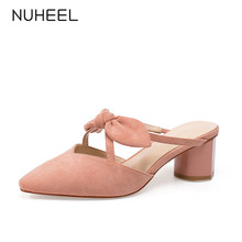 NUHEEL women's shoes new summer fashion sweet style bow high heels pointed thick heel shallow mouth tide shoes women