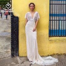 섹시한 V 목 웨딩 드레스 Swanskirt I108 Appliques 3D 꽃 인어 법원 기차 환상 Backless 신부 가운 로브 드 Mariage