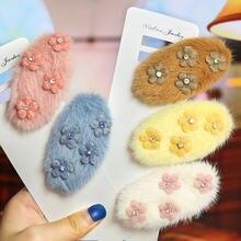 Цветная плюшевая шпилька для волос осень зима корейский милый