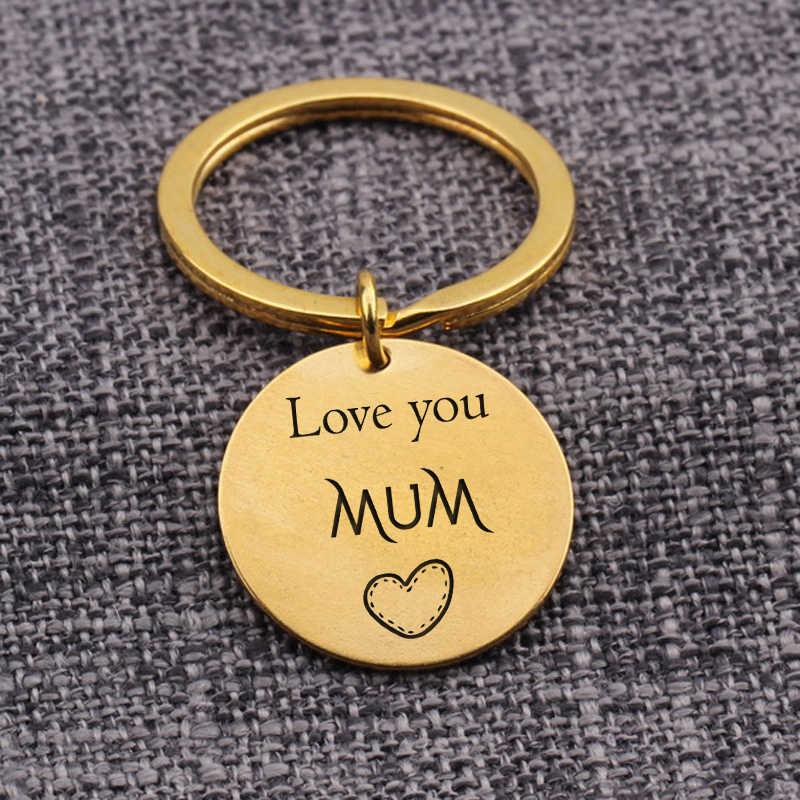 Etiketi anahtarlık anneler günü takı seni seviyorum anne gravür harfler anahtarlıklar kolye anahtarlık çanta uğuru Mum hediye hatıra