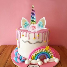 QIFU Unicorn Cake Toppers Decor Unicorn Birthday Party Decorations Kids Girl Cupcake Wrappers Cake Topper Unicorn Party Supplies