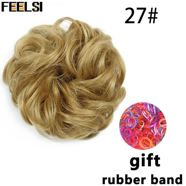 FEELSI синтетические гибкие волосы булочки кудрявые резинки шиньон эластичные грязные волнистые резинки для наращивания конского хвоста для женщин - Цвет: P1B/613