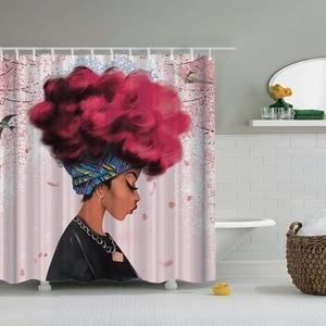 Image 4 - Dafield cortina de ducha africana para niña, cortina de ducha Afro de pelo azul, cortina de baño africana