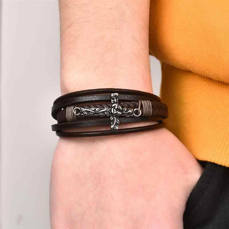 Jiayiqi pulseira de couro dos homens do vintage rosa cruz encantos fecho magnético aço inoxidável multicamadas trançado pulseiras masculino jóias