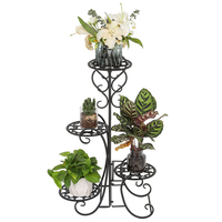 New Design 4 Potted Flower Metal Shelves Plant Pot Stand Decoration for Garden