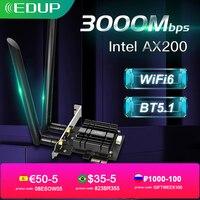 EDUP-adaptador inalámbrico WiFi de 2974Mbps, dispositivo PCIE, Bluetooth 5,1, Intel AX200 de doble banda, 2,4G/5Ghz, 802.11AX PCI Express, tarjeta Wi-Fi