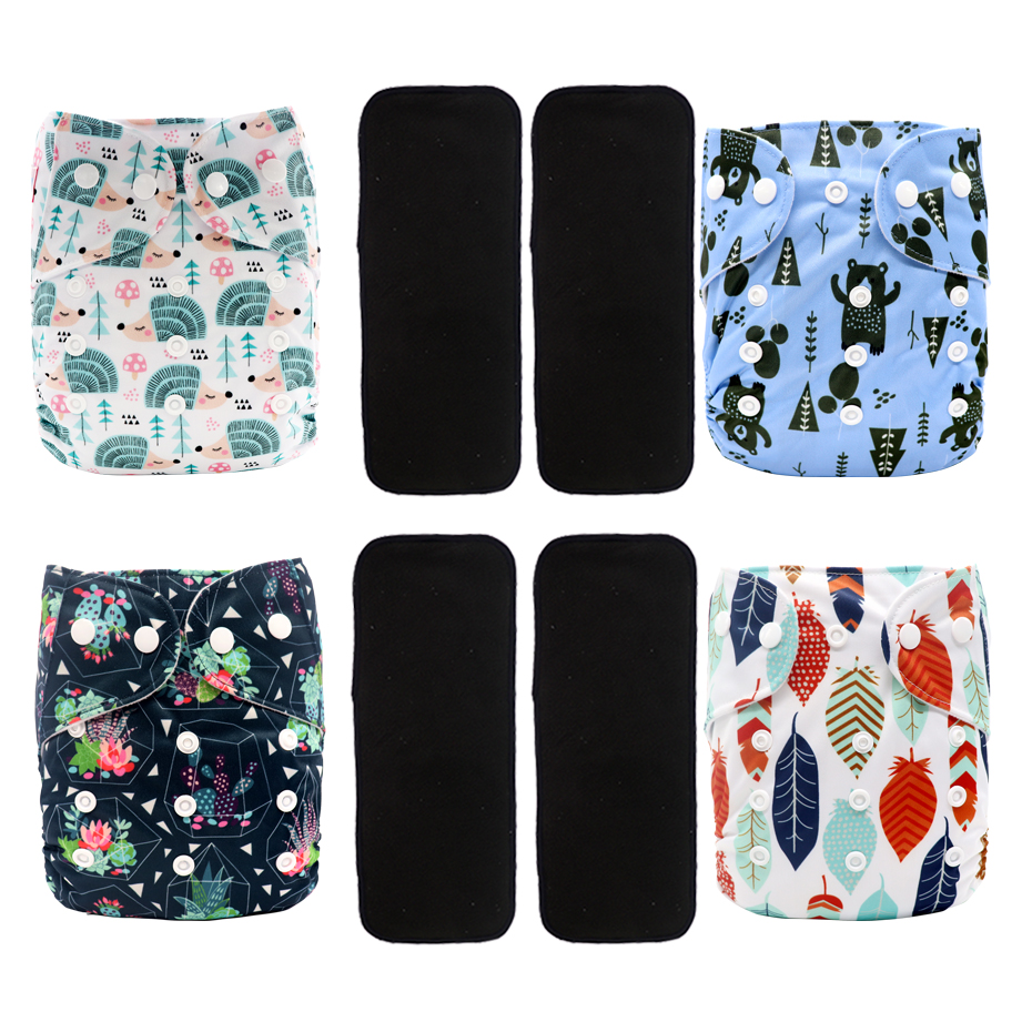 MABOJ Cloth Diapers Baby 4pcs Nappy Cloth Lot Bamboo Charcoal Insert Pocket Diaper One Size Waterproof Diapers Reusable Nappies