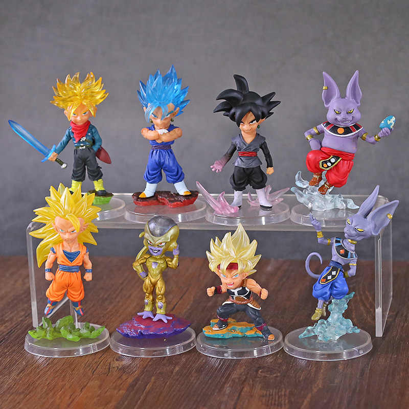 Super Dragon Ball Son Goku Freeza Trunks Beerus WCF Estatueta Toy Modelo PVC Figuras de Ação Anime Dragon Ball Z DBZ 4 pçs/set