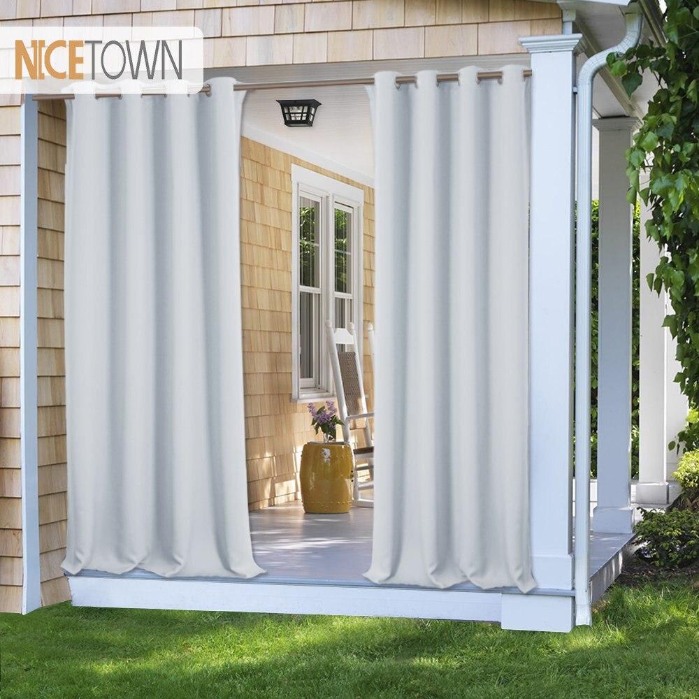 Cortina para exteriores de 7 colores nictown, cortina opaca, luz de bloqueo, resistente a la decoloración con ojal, resistente a la corrosión para porche, Playa y Patio
