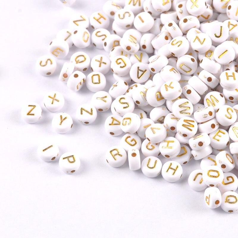 400Pcs Letter// Alphabet Acrylic Beads For Bracelet DIY 7mm White