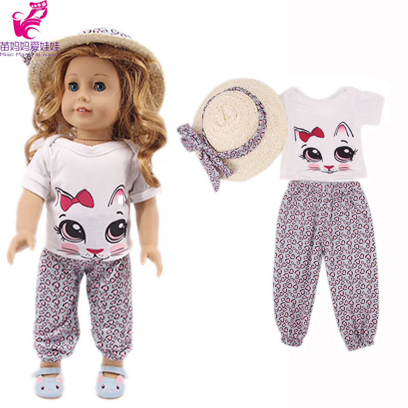 18 Inch Doll Clothes Cute Cat T-shirt Trousers Hat 43 Cm Baby New Born Doll Clothes Outwear Accessories Generation Girl Gift