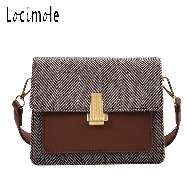 Locimole Vintage Woolen Women Bags Fashion Small Square Shoulder Bag Wild Korean Style Crossbody Bag bolsa feminina BIZ038 PM49