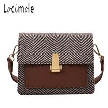 Locimole צמר נשים שקיות אופנה קטן כיכר כתף תיק יוקרה מותג קוריאני סגנון Crossbody שקיות bolsa feminina BIZ038 PM45