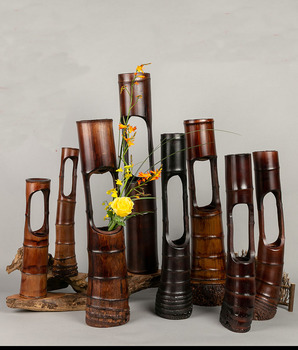 Floral Bamboo tube vase decoration living room creative  flower art pot personality handmade bamboo crafts ornaments