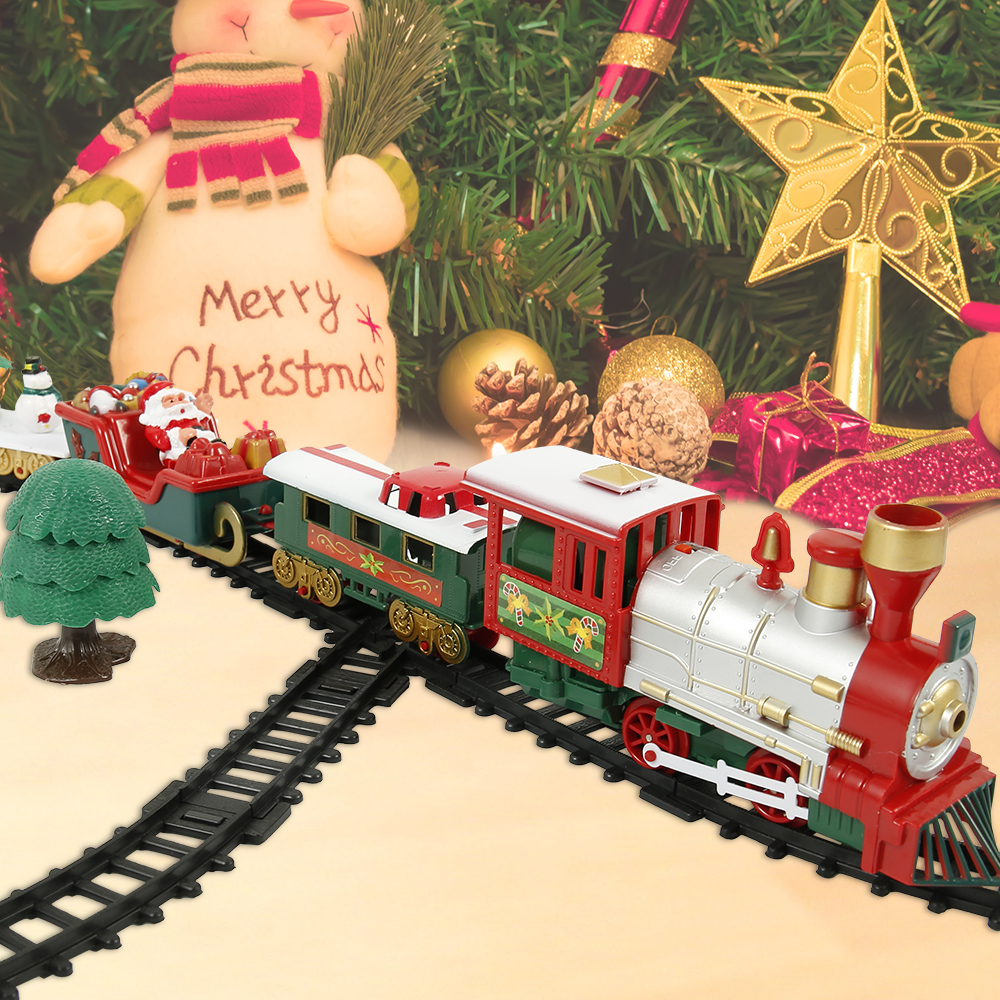 Christmas Electric Rail Car Train Toy Children's Railway Train Set Racing Road Transportation Building Toys Kids Christmas Gifts