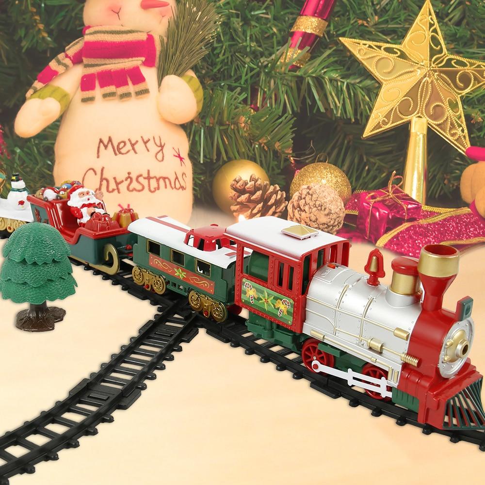 Christmas Electric Rail Car Train Toy Children's Railway Train Set Racing Road Transportation Building Toys Kids Christmas Gifts